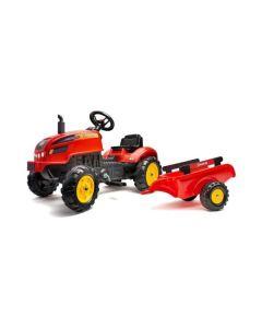 Falk X-Trac Traktor na pedale sa prikolicom Crveni