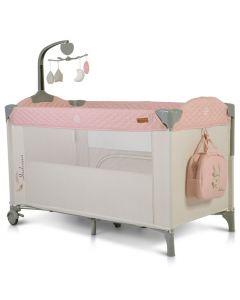 Prenosivi krevetac Indiana 2 nivoa Vrteška Torba Pink