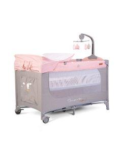 Prenosivi krevetić sa vrteškom - Once upon a time - 3 nivoa - pink