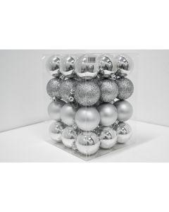 Novogodišnji ukrasi set 36 komada silver